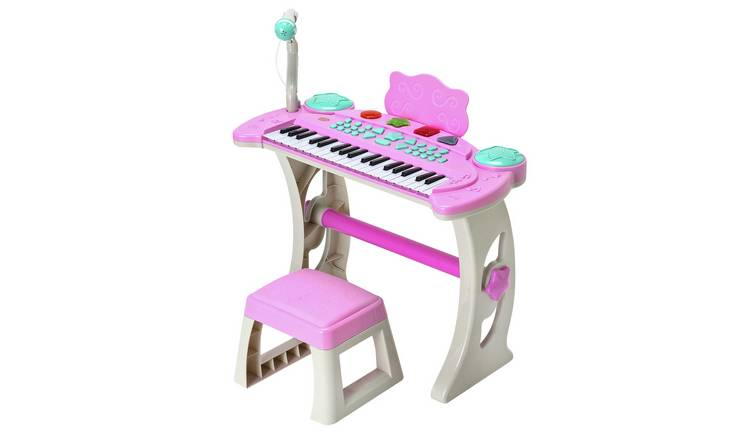 Chad Valley Keyboard Stand and Stool - Pink