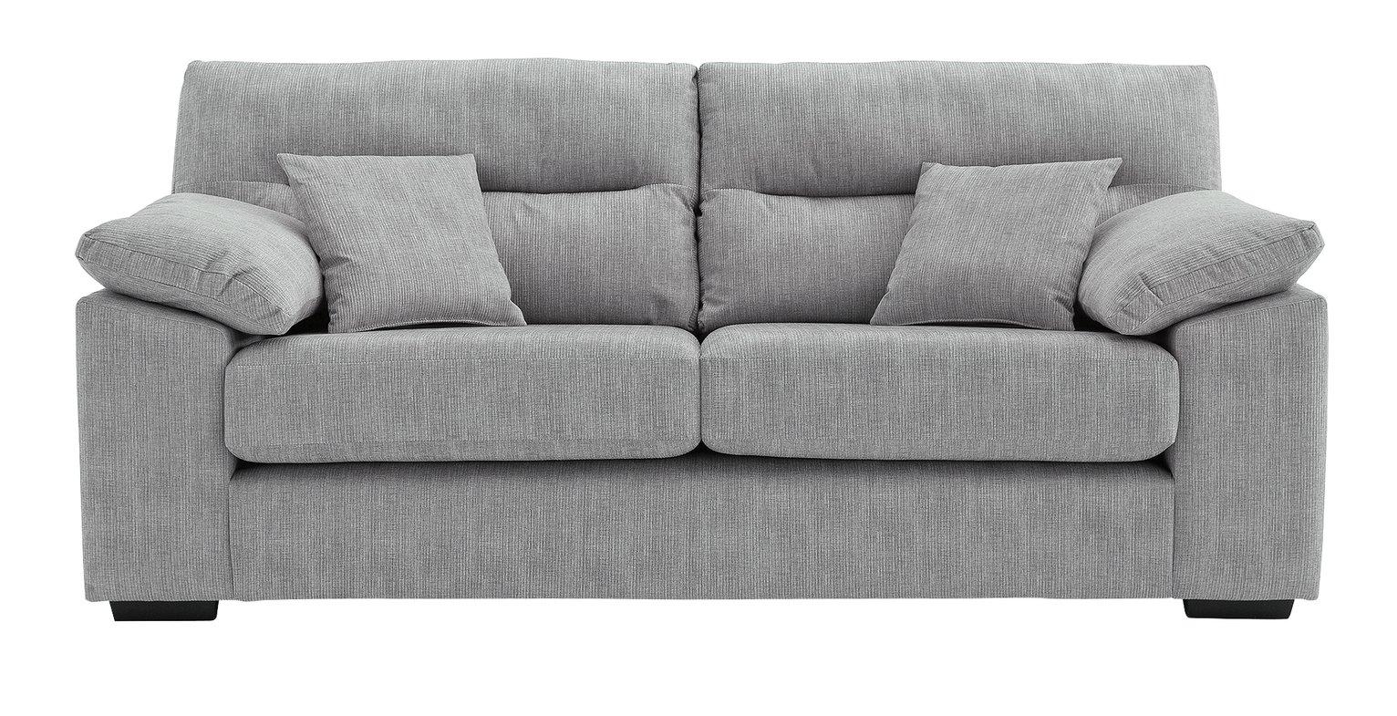 Argos Home Donavan 3 Seater Fabric Sofa - Silver