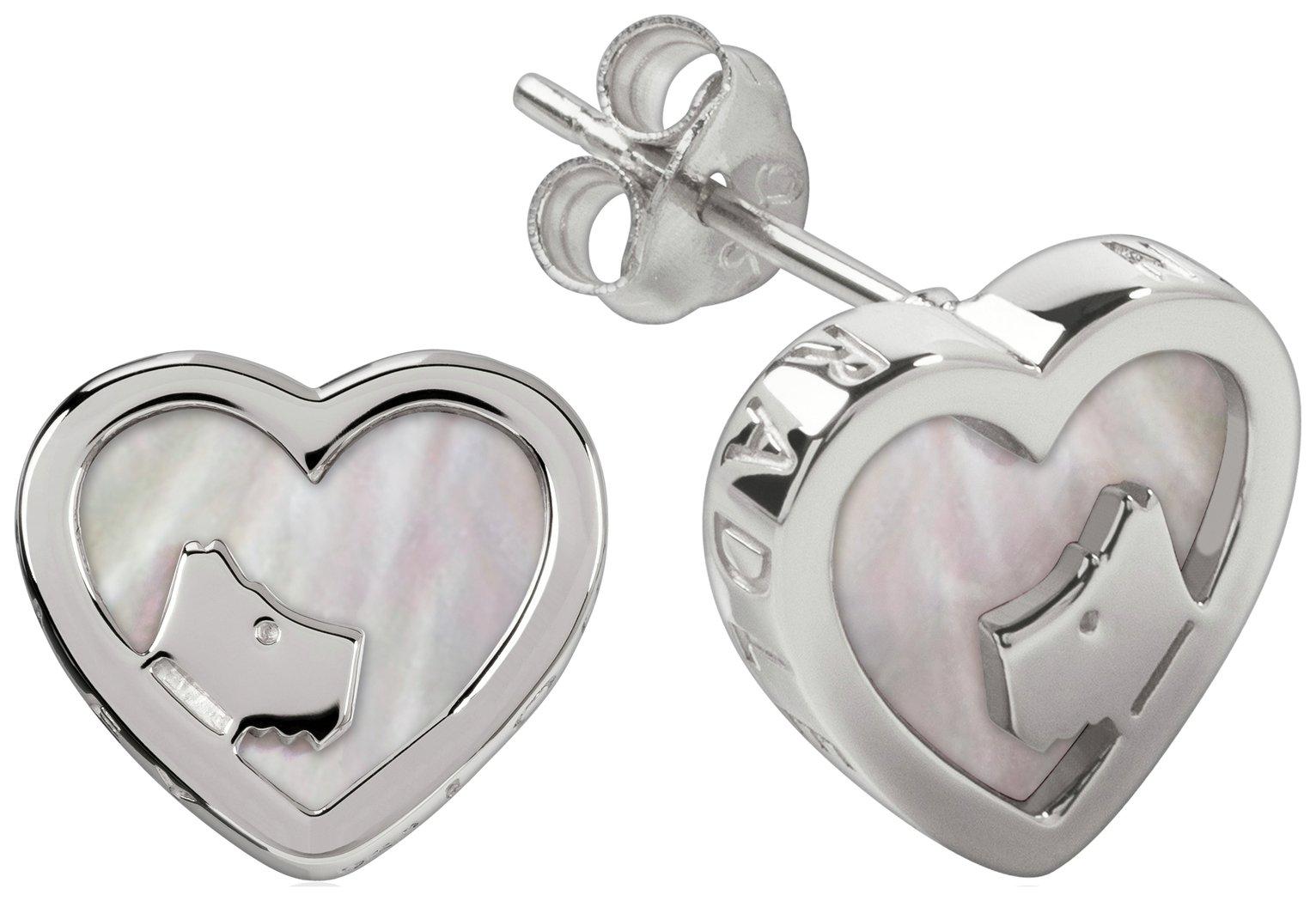 Radley London Heart Shape Stone Set Pearl Stud Earrings