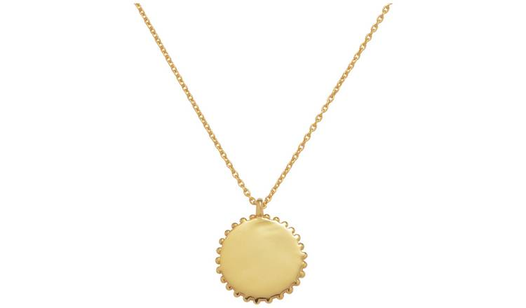 Revere Gold Plated Silver Beaded Disc Pendant Necklace