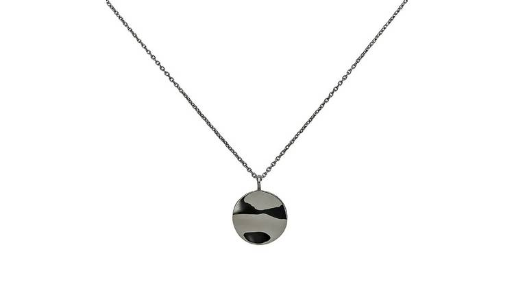 Revere Silver Plated Wave Disc Pendant Necklace
