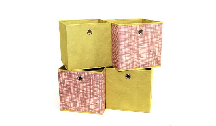 Habitat Set of 4 Squares Boxes - Orange Grid