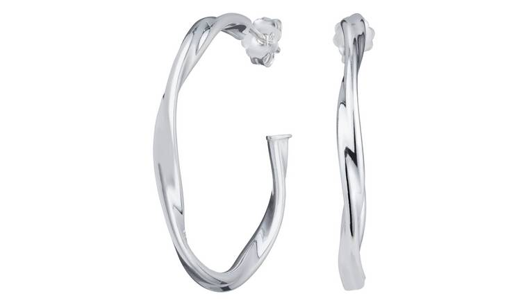 Revere 9ct Sterling Silver Twist Hoop Earrings