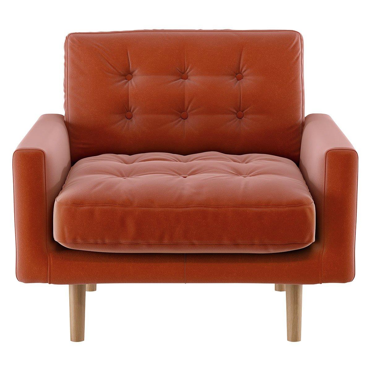 Habitat Fenner Orange Velvet Fabric Armchair