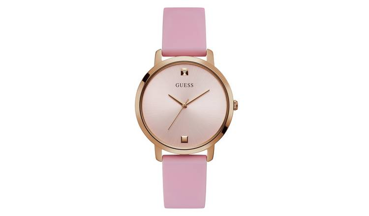 Guess Ladies Pink Leather Strap Watch