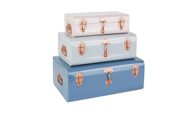 Habitat Trunk Set Of 3 Plain Trunks Pink & Grey
