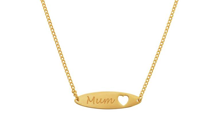 Moon & Back 9ct Gold Plated Oval Bar Mum Necklet