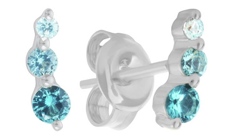 Revere Sterling Silver Blue Cubic Zirconia Stud Earrings
