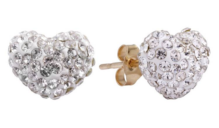 Revere 9ct Gold Crystal Heart Stud Earrings