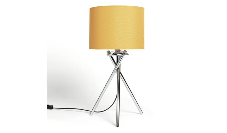 Habitat Tripod Table Lamp - Mustard and Chrome