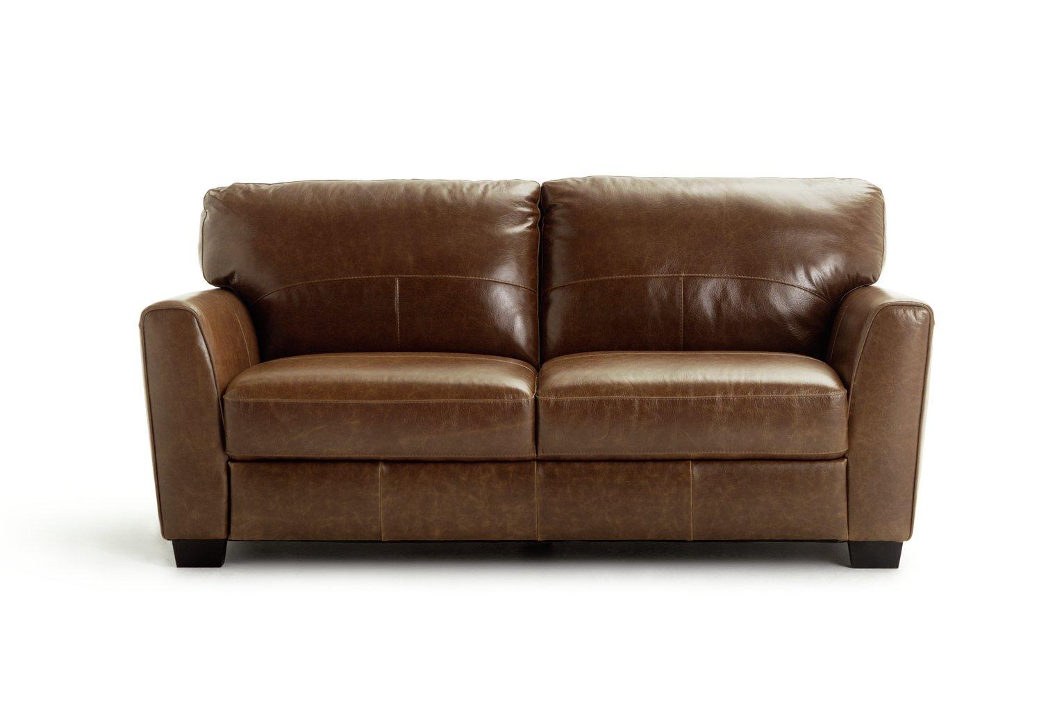 Habitat Milford 3 Seater Leather Sofa - Tan