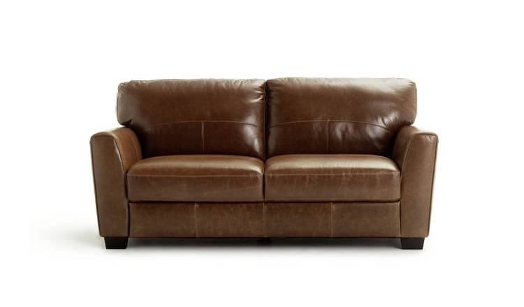 Habitat Milford 3 Seater Leather Sofa - Tan