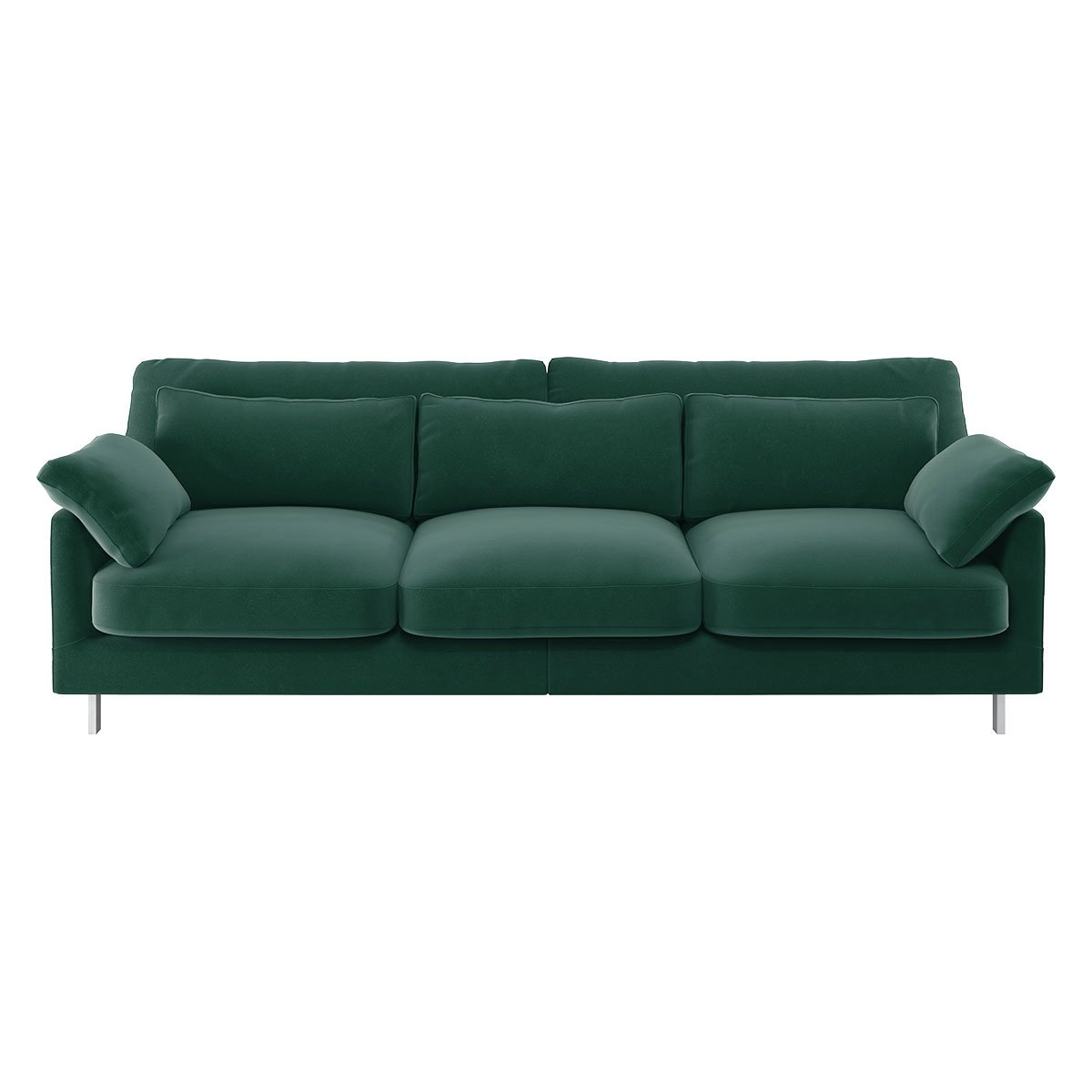 Habitat Cuscino 3 Seater Velvet Sofa - Emerald Green