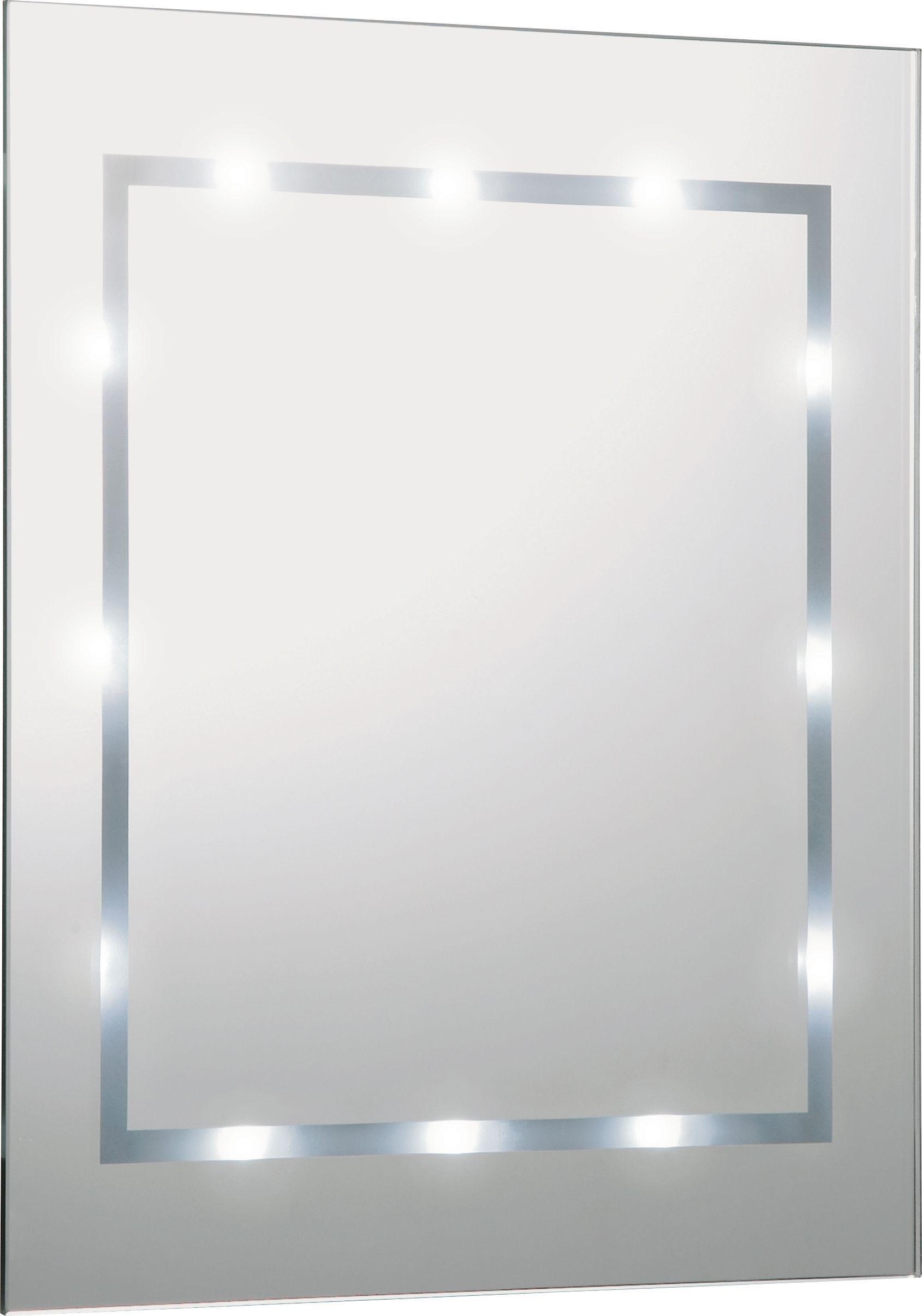 HOME Rectangular Illuminated Bathroom Mirror   White Gloss
