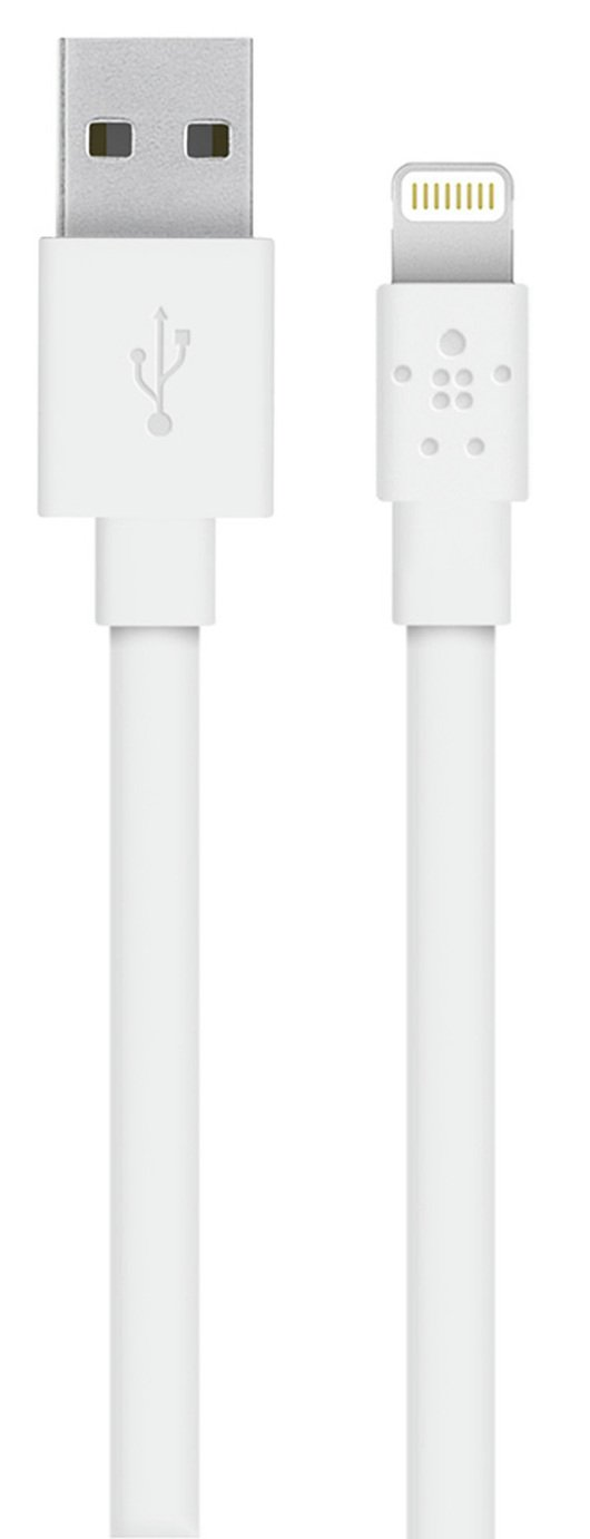 Belkin 1.2m Flat Lightning to USB Charge Sync Cable - White