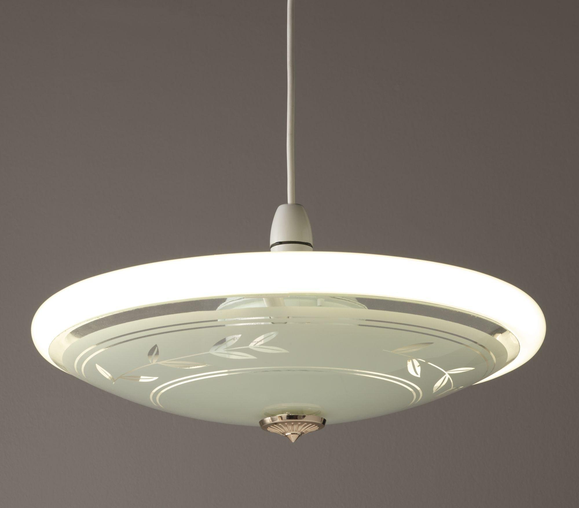 HOME Circular Fluorescent Etch Flush Ceiling Fitting-Frosted901/9377