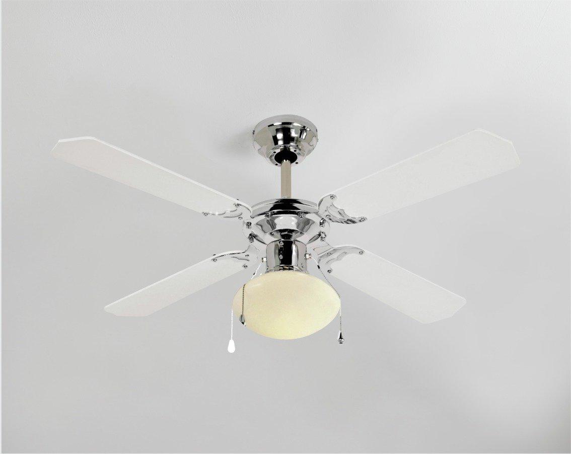 Argos Home Ceiling Fan - White & Chrome