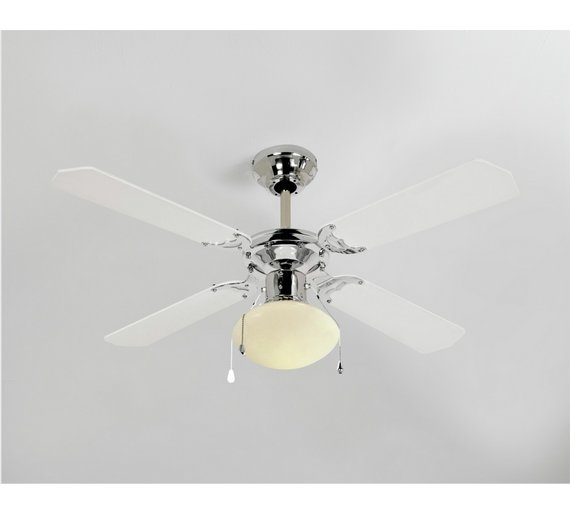 Buy home ceiling fan white and chrome at argos your home ceiling fan white and chrome mozeypictures Gallery