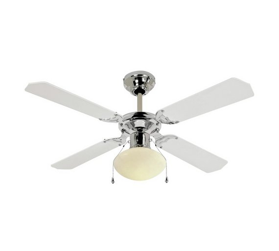 Home ceiling fan white and chrome