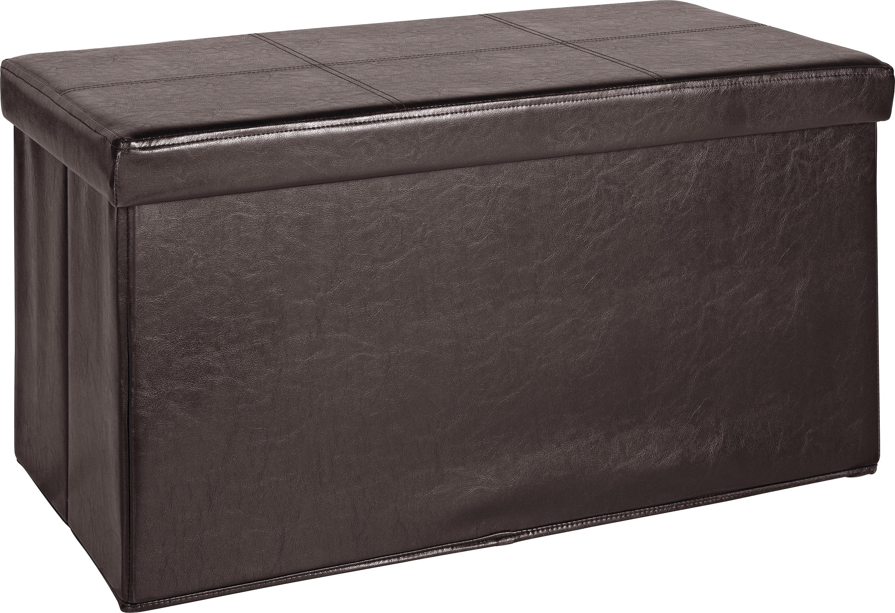 Buy HOME Large Leather Effect Ottoman Stitching Detail Brown