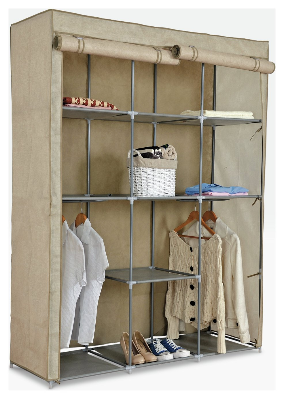 home double modular metal framed fabric wardrobe  jute.