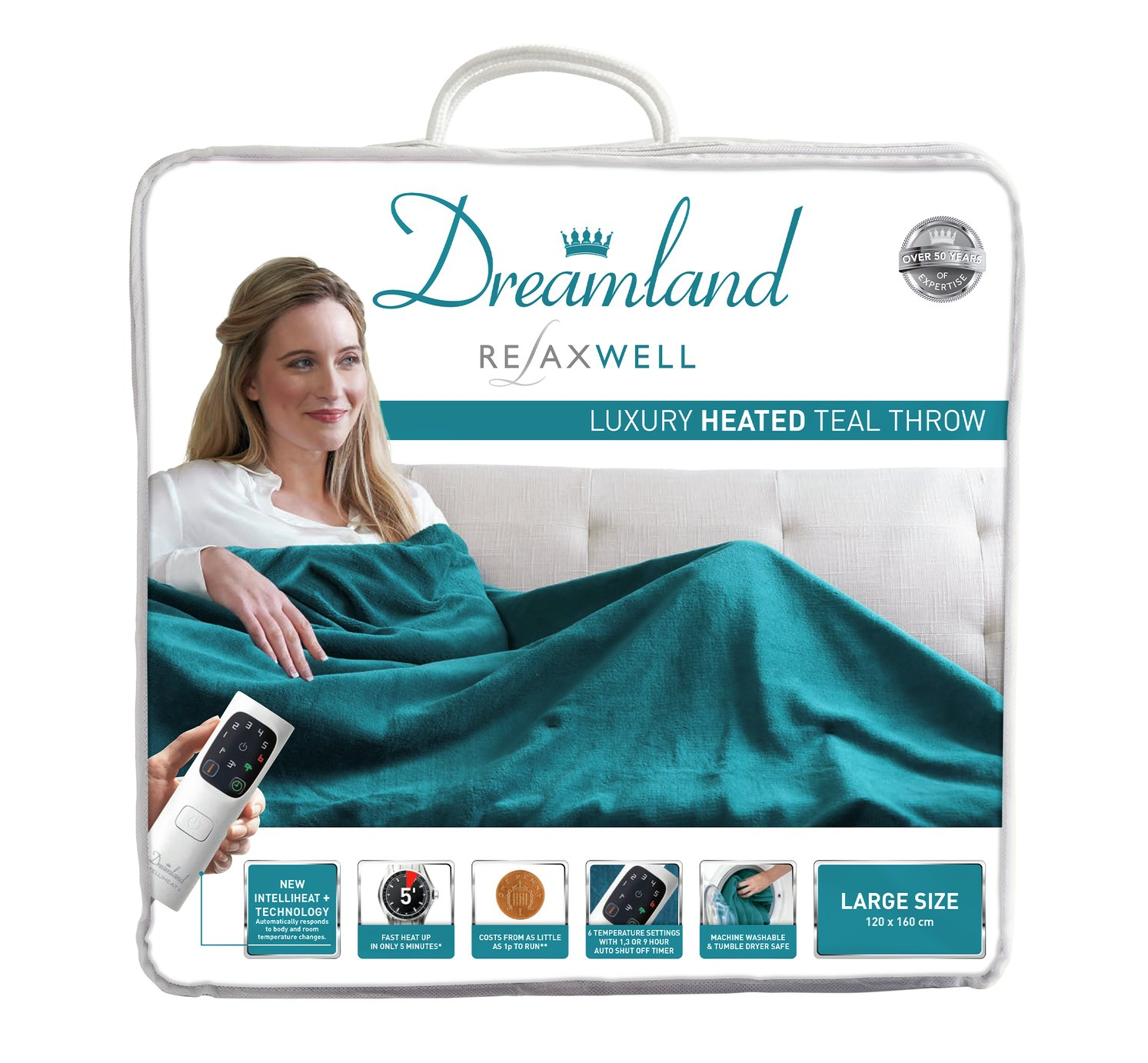Relaxwell by Dreamland Heated Throw - Teal