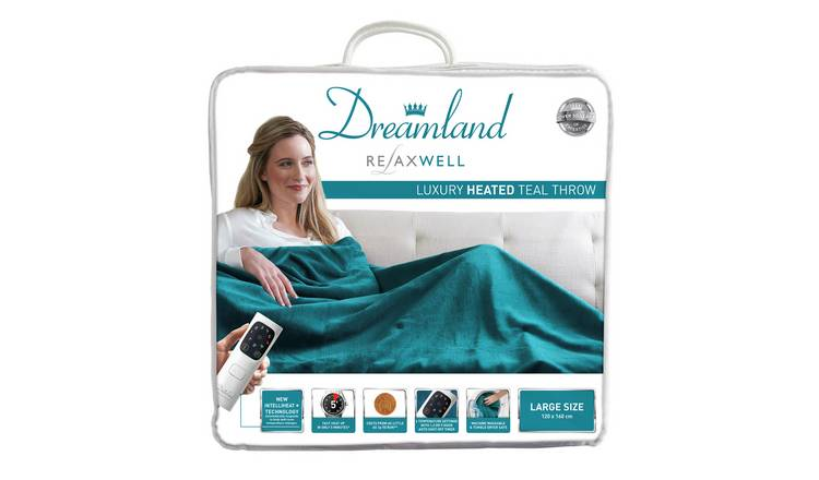 Relaxwell by Dreamland Luxury Velvety Heated Throw - Teal
