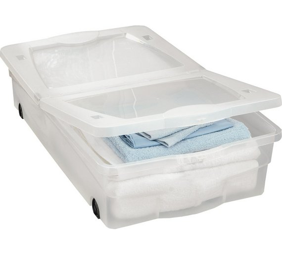buy home 50 litre wheeled plastic underbed storage box with lid plastic storage boxes and. Black Bedroom Furniture Sets. Home Design Ideas