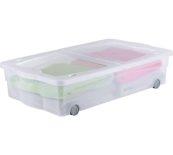 home 50 litre wheeled plastic underbed storage box with lid storage space ebay. Black Bedroom Furniture Sets. Home Design Ideas