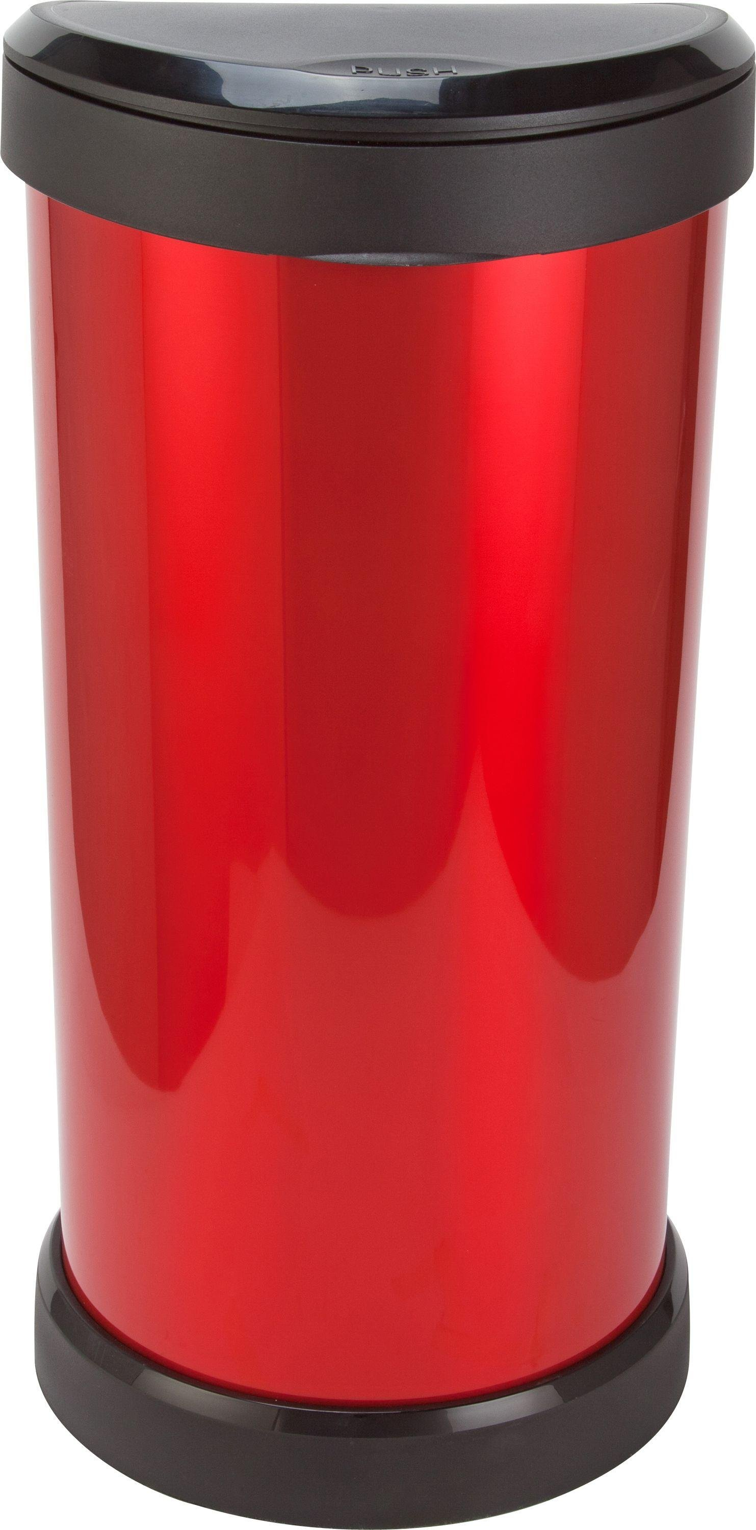 Image of Curver 40 Litre Deco Touch Top Kitchen Bin - Red and Black