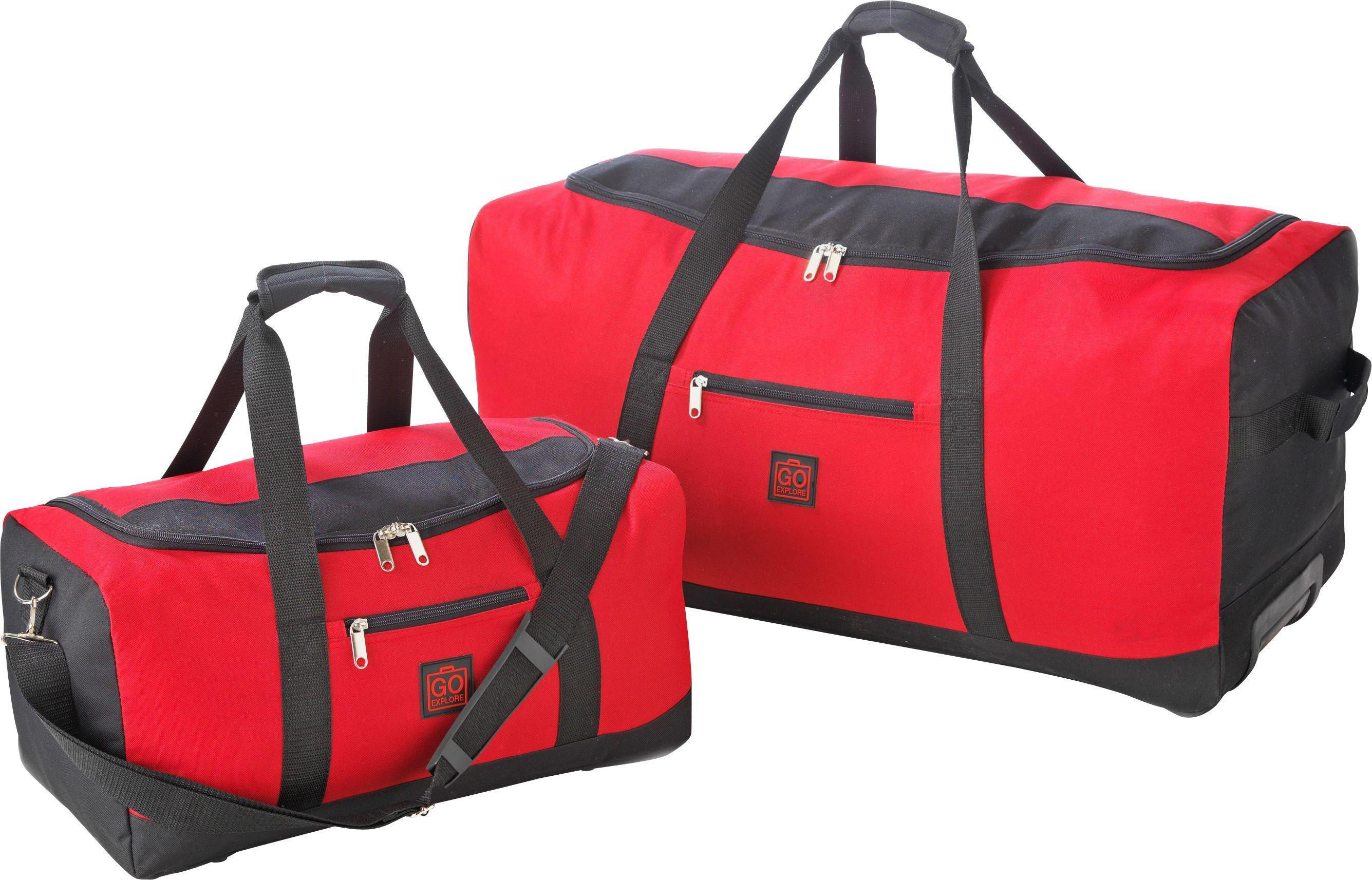 Image of Go Explore - 2 Piece Wheeled Holdall Set - Red