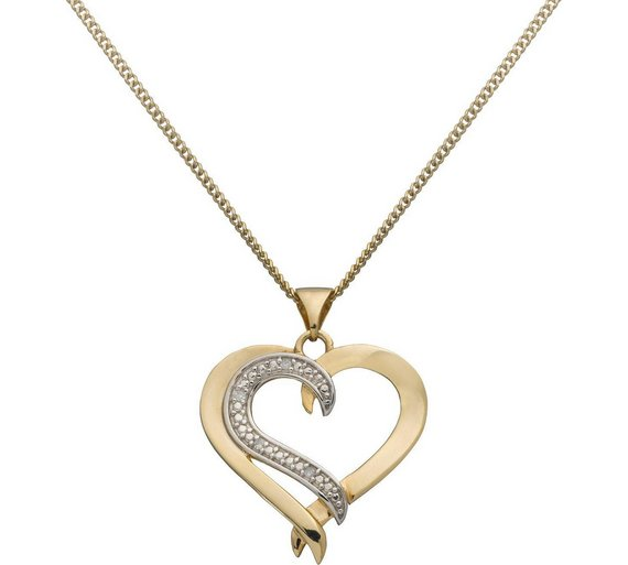 Buy revere 9ct gold plated silver diamond accent heart pendant revere 9ct gold plated silver diamond accent heart pendant aloadofball Image collections