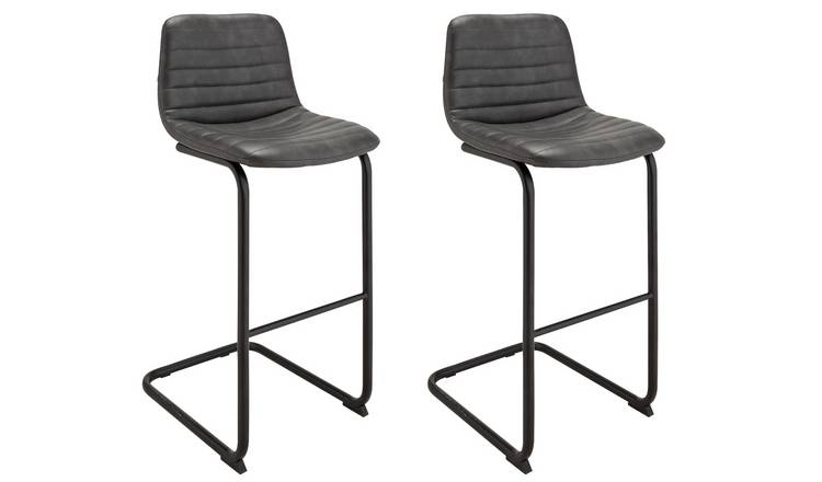 Phenomenal Buy Argos Home Logan Pair Of Faux Leather Bar Stools Black Bar Stools Argos Machost Co Dining Chair Design Ideas Machostcouk