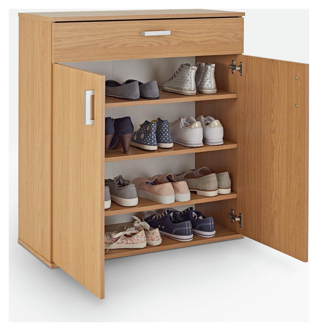 sale on home venetia shoe storage cabinet oak effect. Black Bedroom Furniture Sets. Home Design Ideas