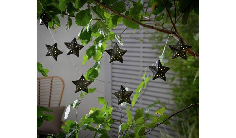 Habitat 10 White LED Punched Star Solar String Lights