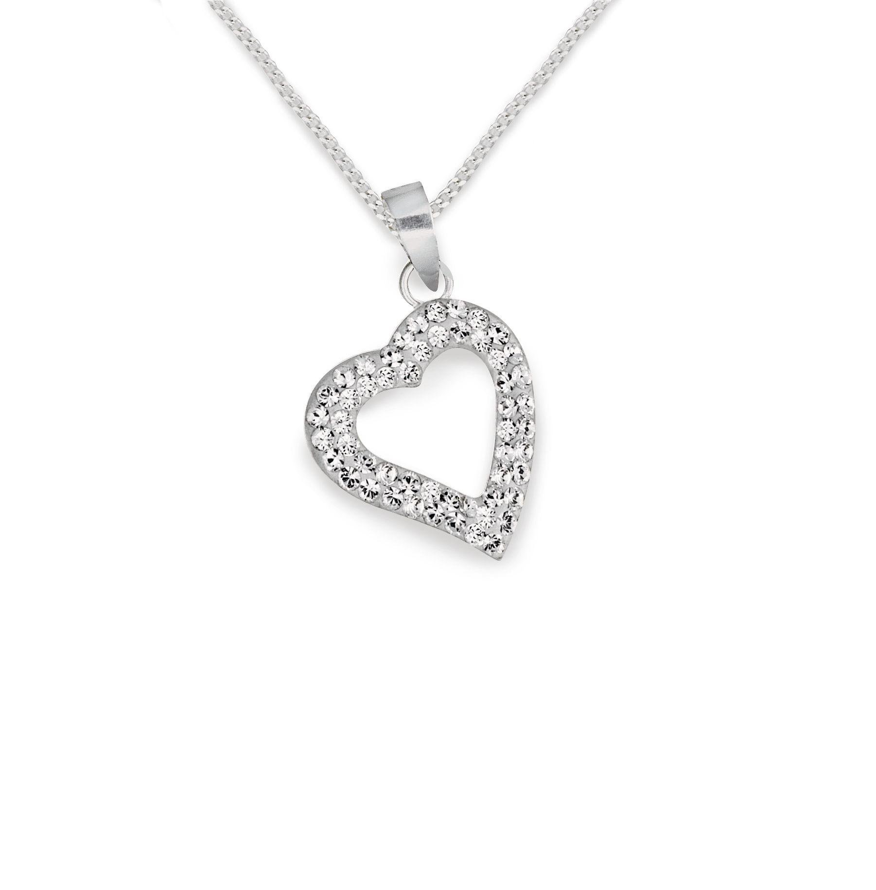 Revere Silver Crystal Heart Pendant 18 Inch Necklace