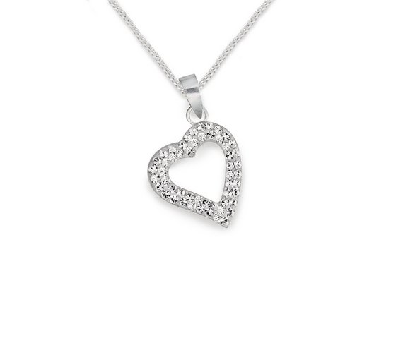 Buy revere sterling silver floating crystal heart pendant ladies click to zoom aloadofball Images