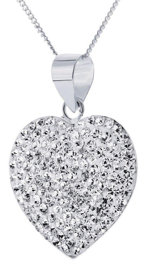 Sterling Silver - Crystal Dome Heart Pendant.