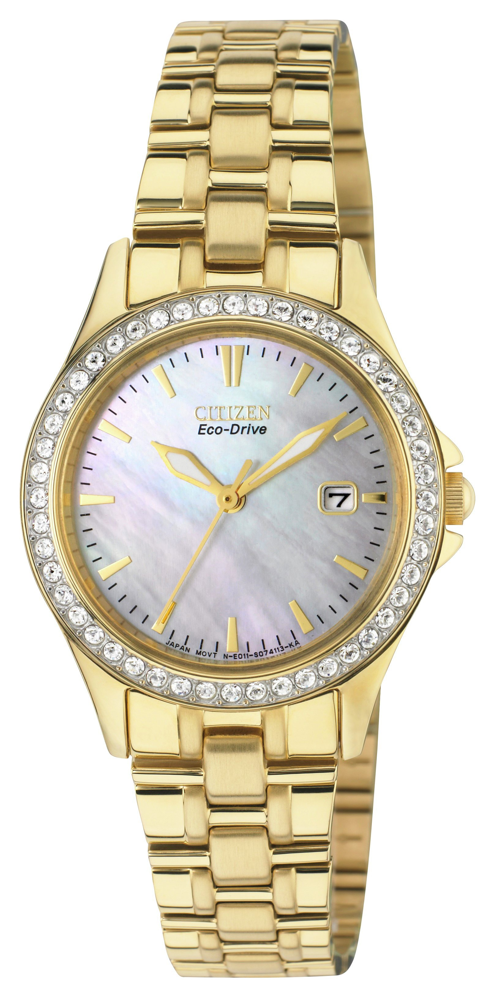 Image of Citizen - Ladies Gold Eco-Drive Swarovski Crystal Bracelet - Watch