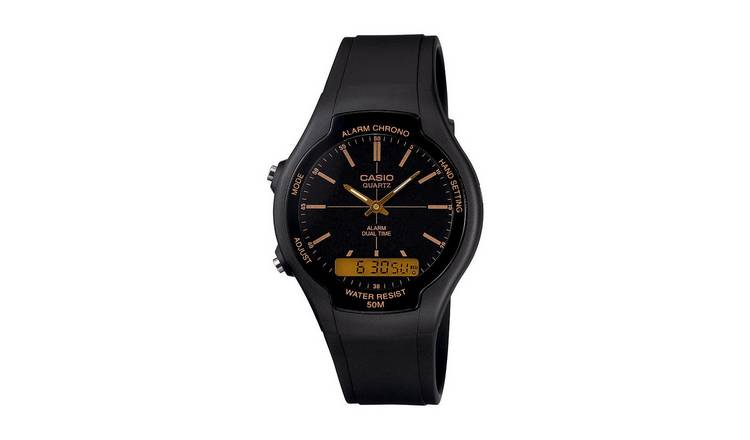 Buy Casio Men S Alarm And Dual Time Black Resin Strap Watch Men S Watches Argos