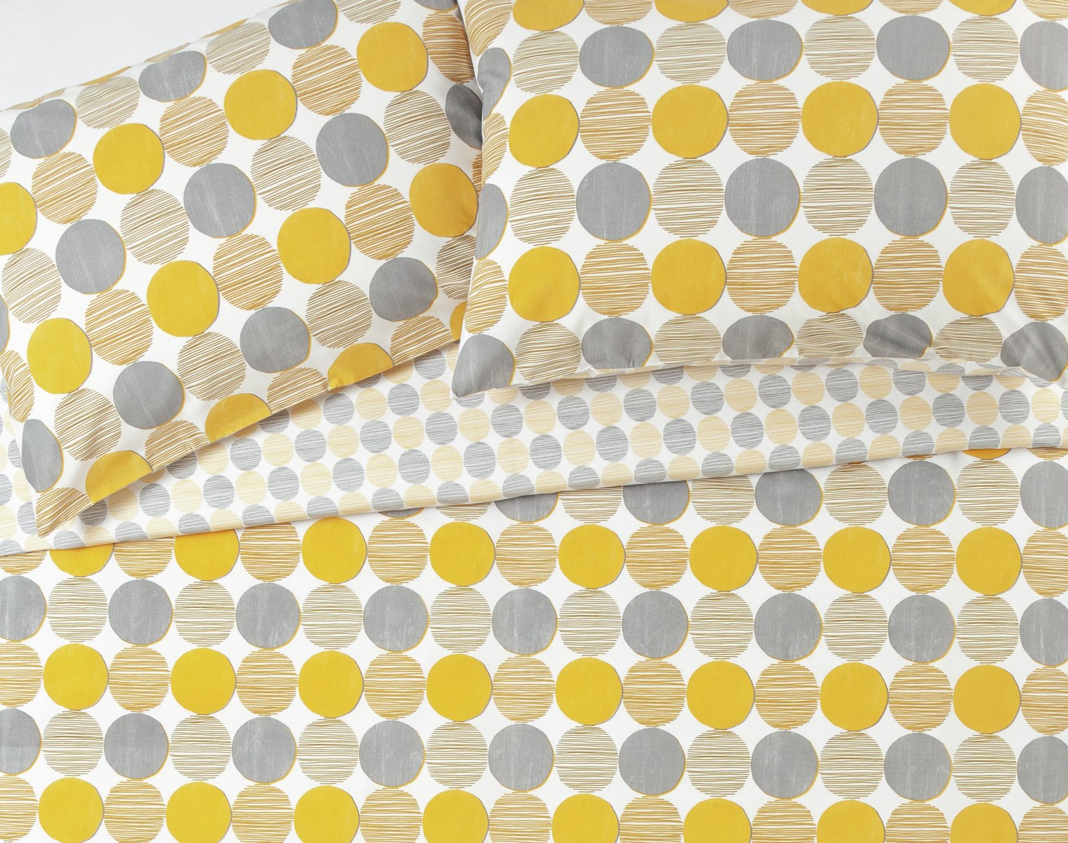 Argos Home Mustard and Grey Circles Bedding Set - Kingsize