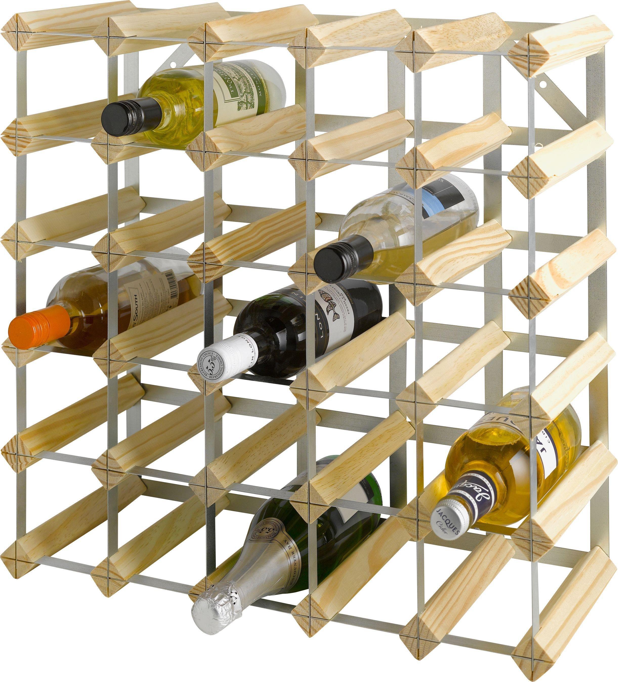 home 30 bottle wooden wine rack