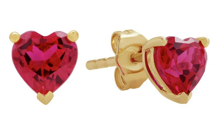 Revere 9ct Gold Created Ruby Heart Stud Earrings