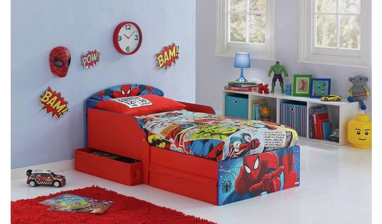 Buy Marvel Spiderman Toddler Bed, Drawer & Kids Mattress   Kids ...