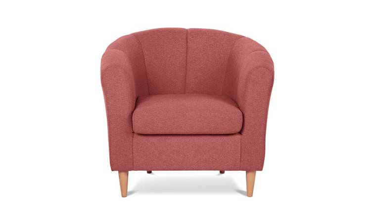 Habitat Ayres Fabric Tub Chair - Coral