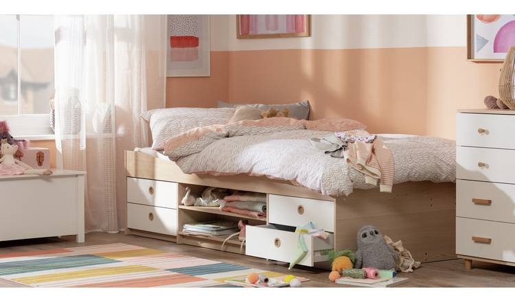 Argos Home Camden Cabin Bed Frame - White and Acacia Effect