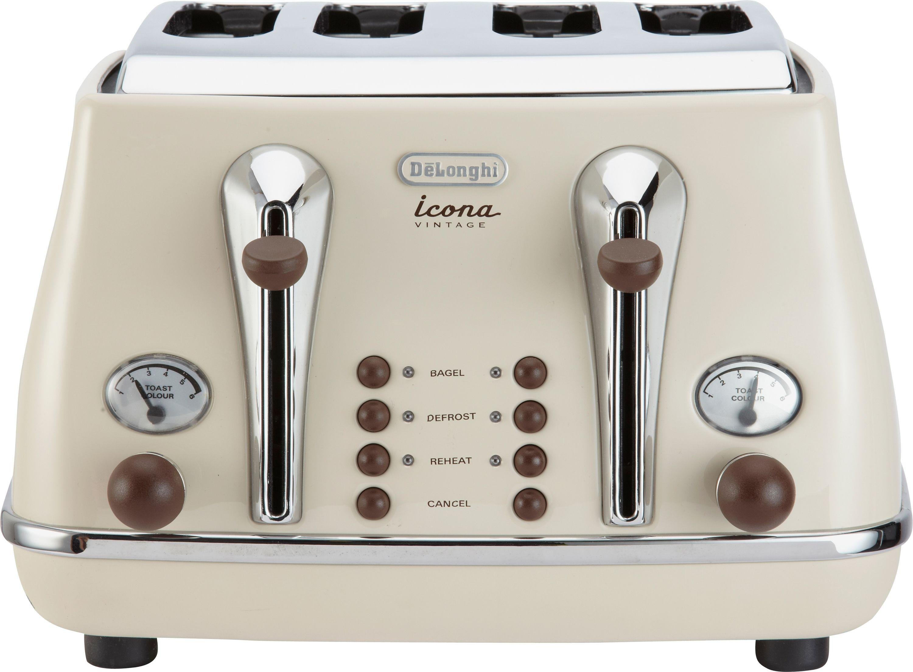 Image of De'Longhi - Toaster - 4 Slice Vintage Icona Toaster - -Cream