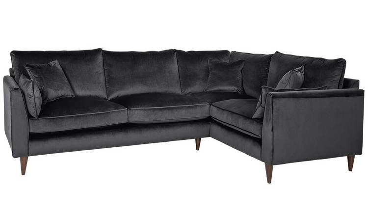 Buy Argos Home Hector Right Corner Velvet Sofa - Grey | Sofas | Argos