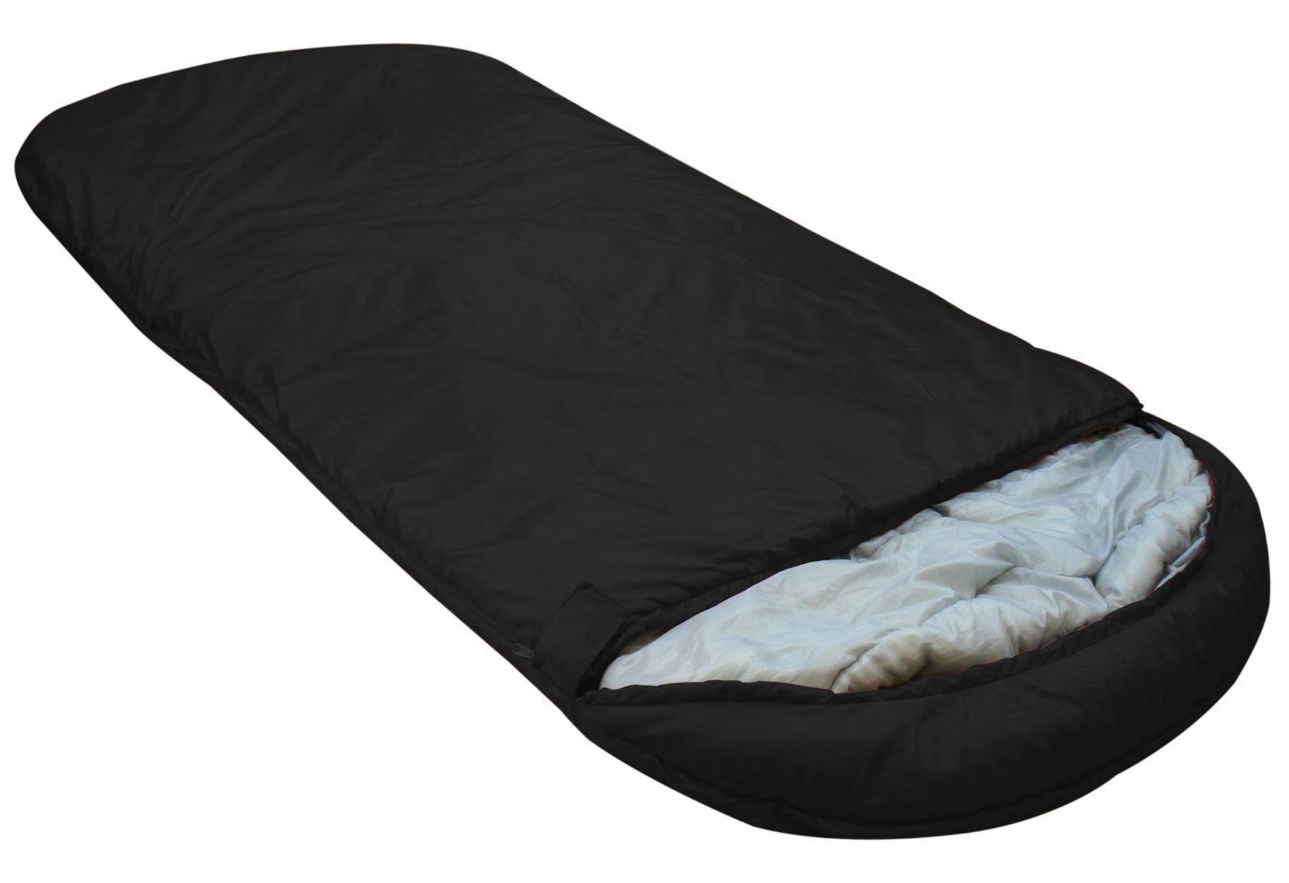 Highlander Single Big Sleep Cowl 250GSM Sleeping Bag - Black