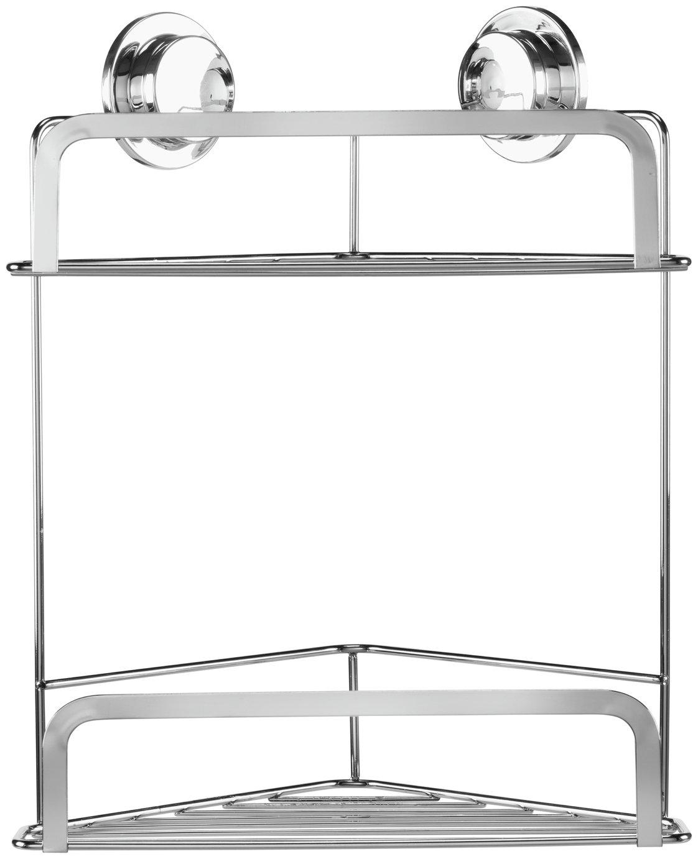 Croydex Stick 'N' Lock Two Tier Corner Basket